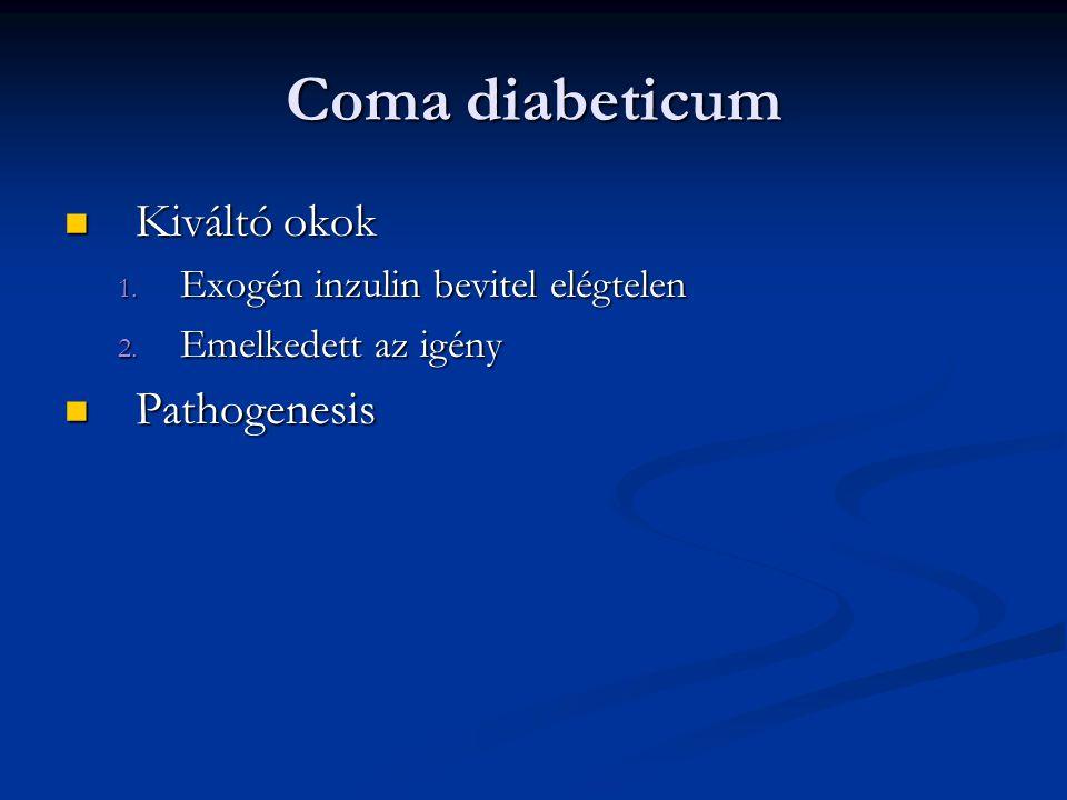 Coma diabeticum Kiváltó okok Pathogenesis
