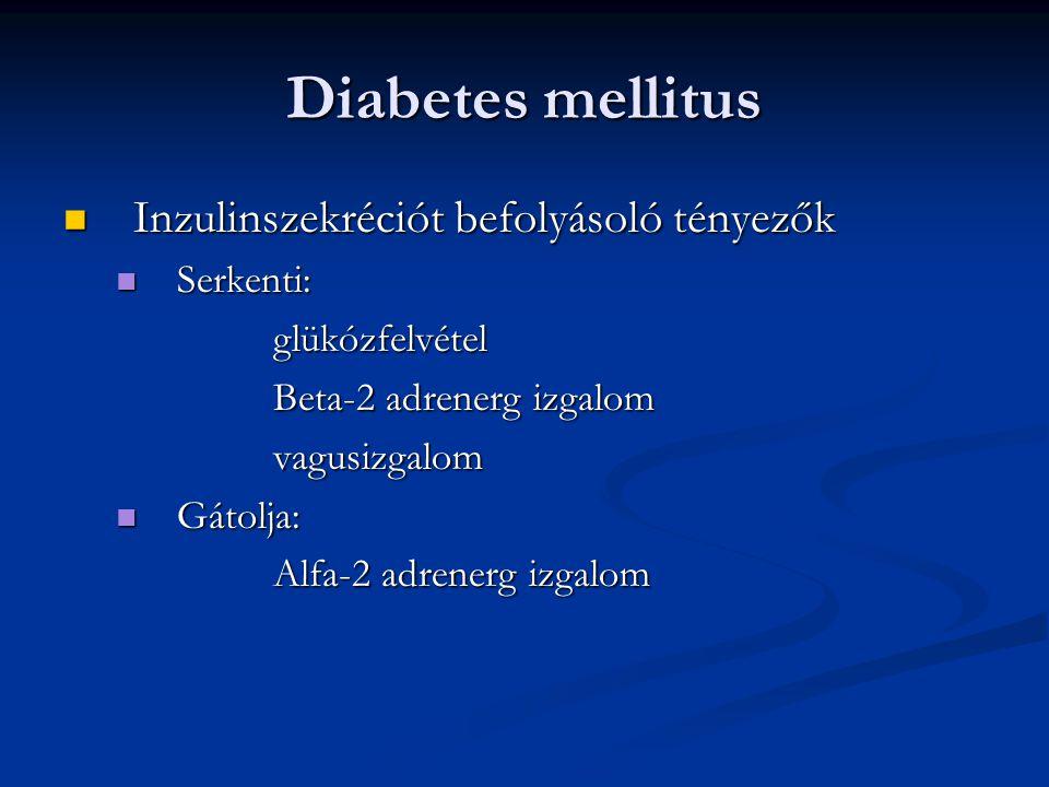 Diabetes mellitus Inzulinszekréciót befolyásoló tényezők Serkenti: