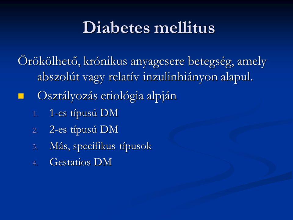 Diabetes mellitus Örökölhető, krónikus anyagcsere betegség, amely abszolút vagy relatív inzulinhiányon alapul.