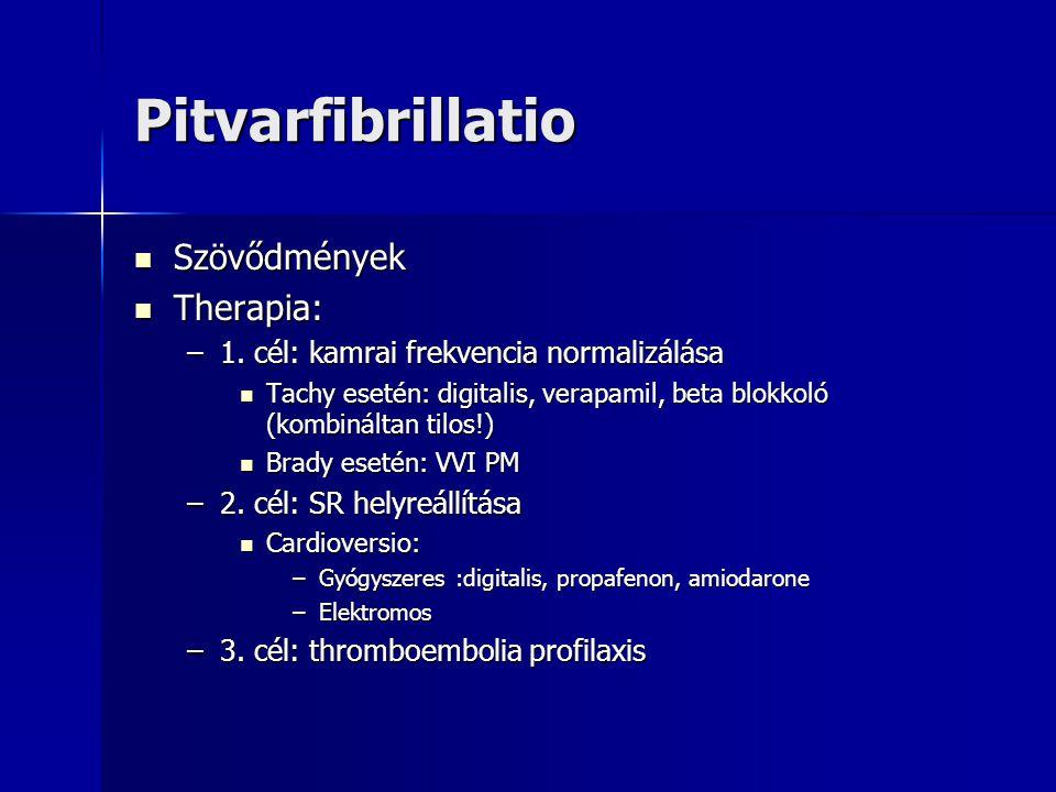 Pitvarfibrillatio Szövődmények Therapia: