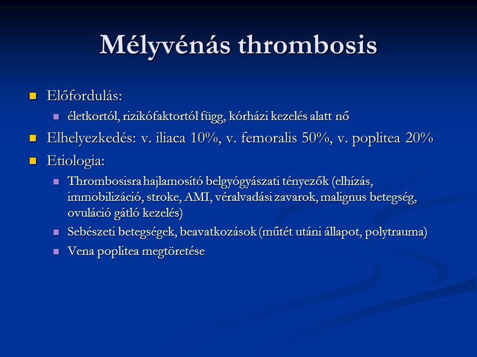 Mélyvénás thrombosis Előfordulás: