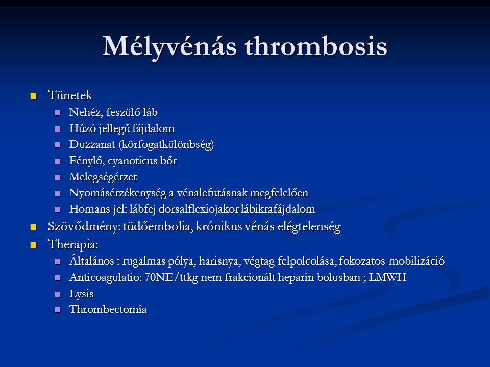 Mélyvénás thrombosis Tünetek