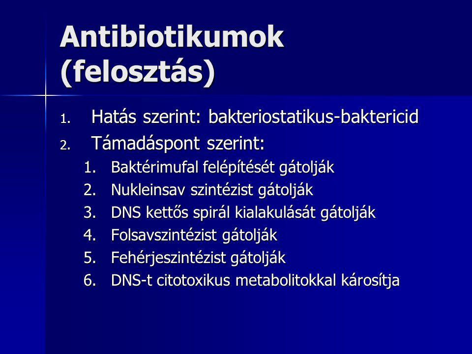 Antibiotikumok (felosztás)