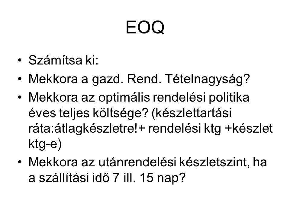 EOQ Számítsa ki: Mekkora a gazd. Rend. Tételnagyság