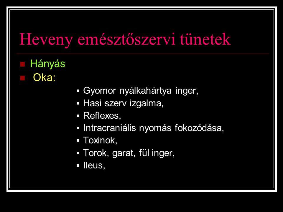 Heveny emésztőszervi tünetek