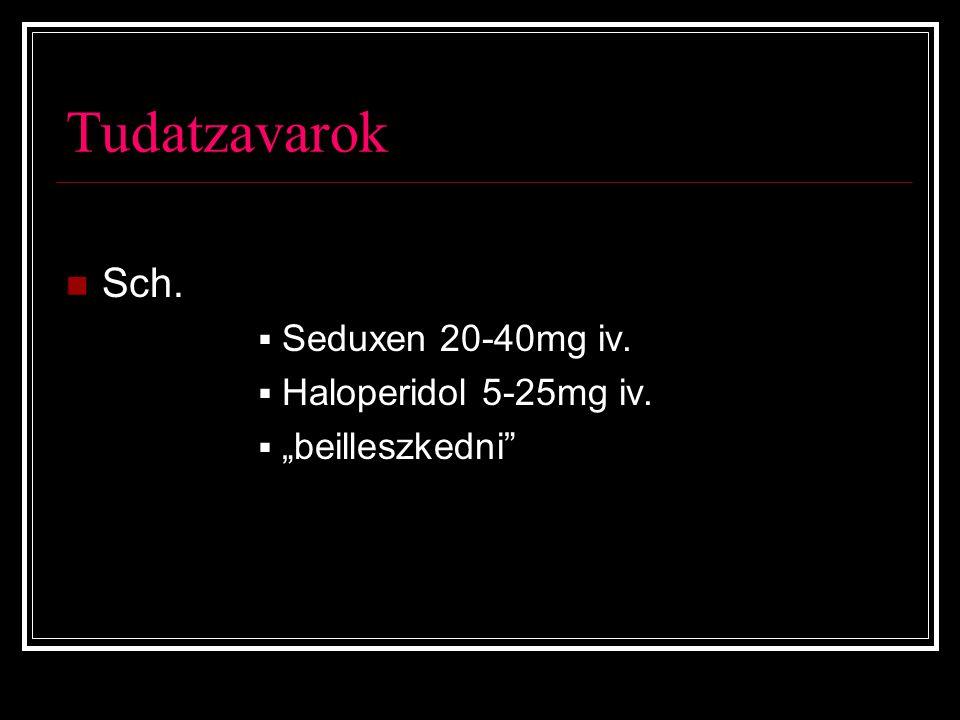 Tudatzavarok Sch. Seduxen 20-40mg iv. Haloperidol 5-25mg iv.