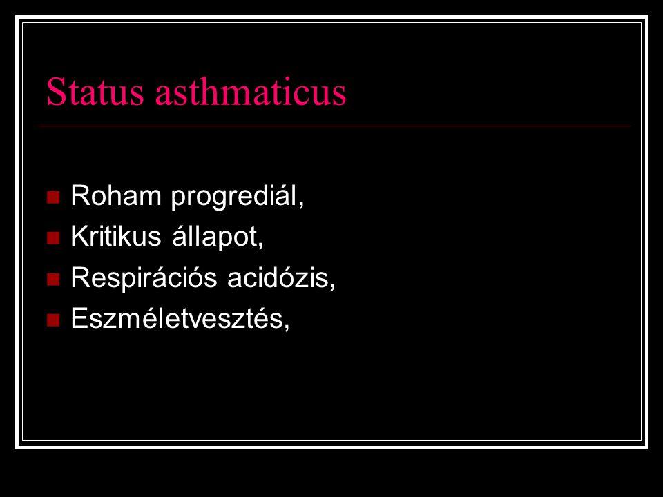Status asthmaticus Roham progrediál, Kritikus állapot,