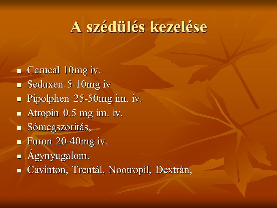 A szédülés kezelése Cerucal 10mg iv. Seduxen 5-10mg iv.