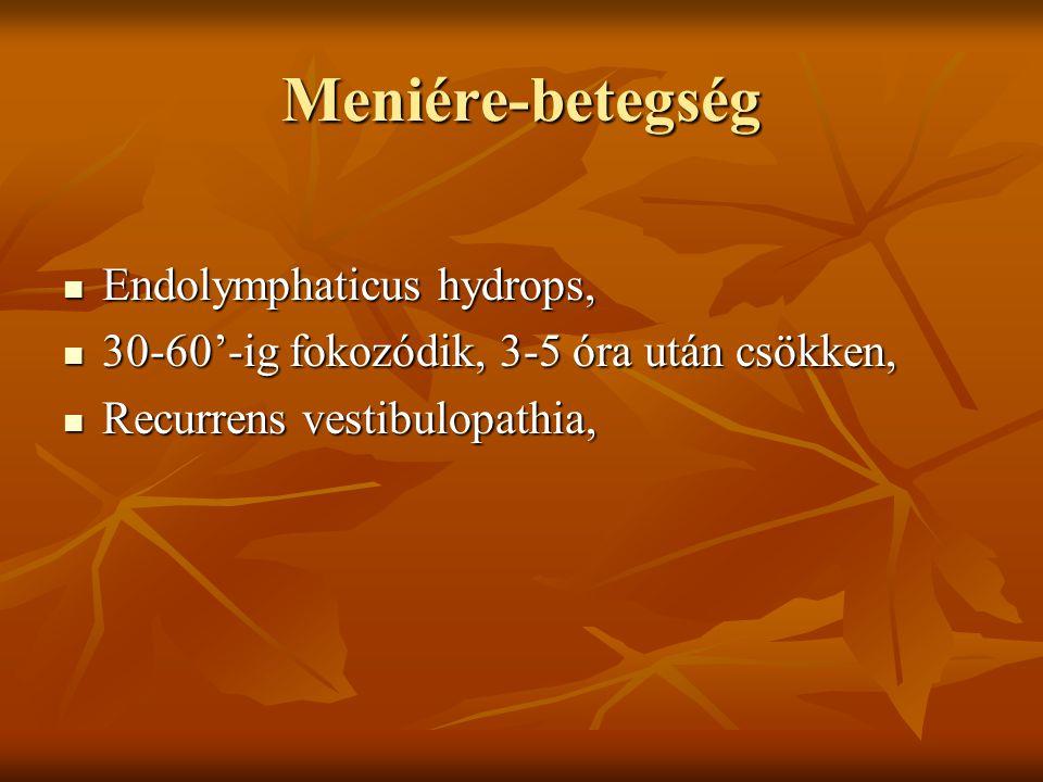 Meniére-betegség Endolymphaticus hydrops,