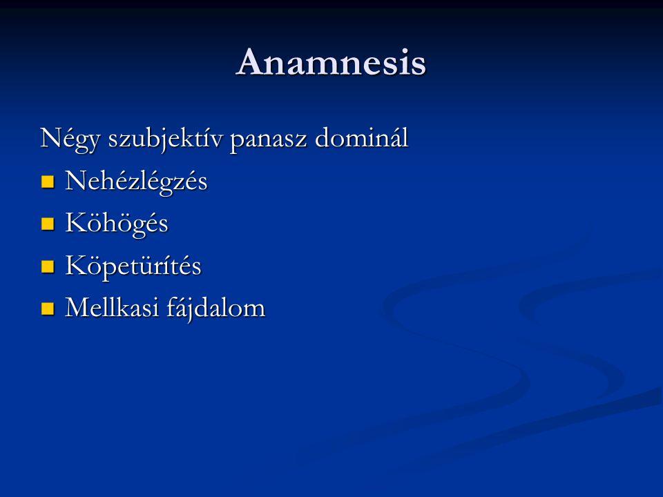 Anamnesis Négy szubjektív panasz dominál Nehézlégzés Köhögés
