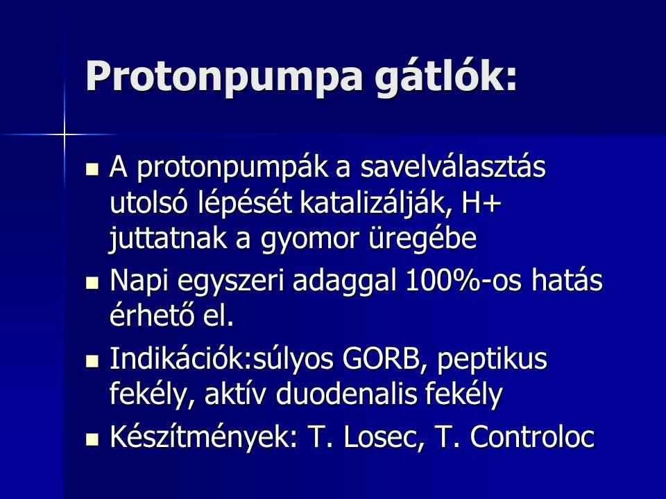 Protonpumpa gátlók: A protonpumpák a savelválasztás utolsó lépését katalizálják, H+ juttatnak a gyomor üregébe.
