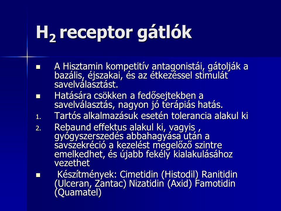 H2 receptor gátlók A Hisztamin kompetitív antagonistái, gátolják a bazális, éjszakai, és az étkezéssel stimulát savelválasztást.