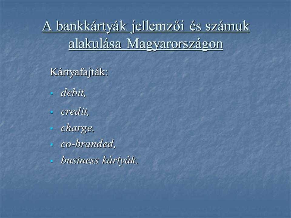 A bankkártyák jellemzői és számuk alakulása Magyarországon