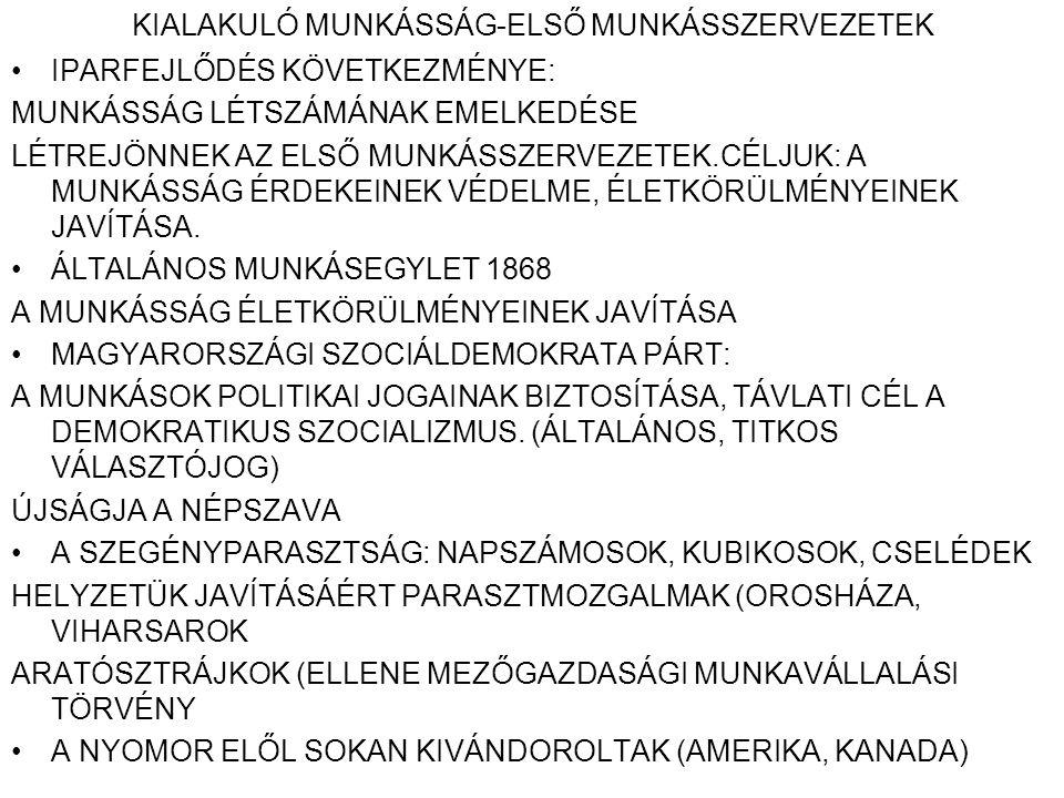 KIALAKULÓ MUNKÁSSÁG-ELSŐ MUNKÁSSZERVEZETEK