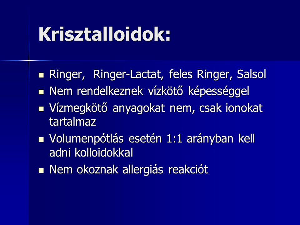 Krisztalloidok: Ringer, Ringer-Lactat, feles Ringer, Salsol
