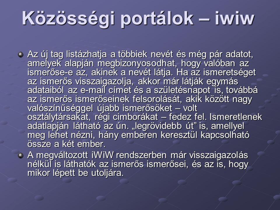 Közösségi portálok – iwiw
