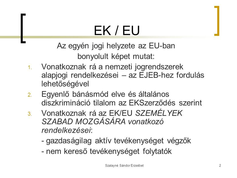 EK / EU Az egyén jogi helyzete az EU-ban bonyolult képet mutat: