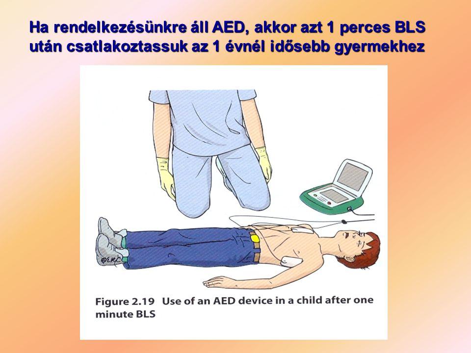 Ha rendelkezésünkre áll AED, akkor azt 1 perces BLS után csatlakoztassuk az 1 évnél idősebb gyermekhez