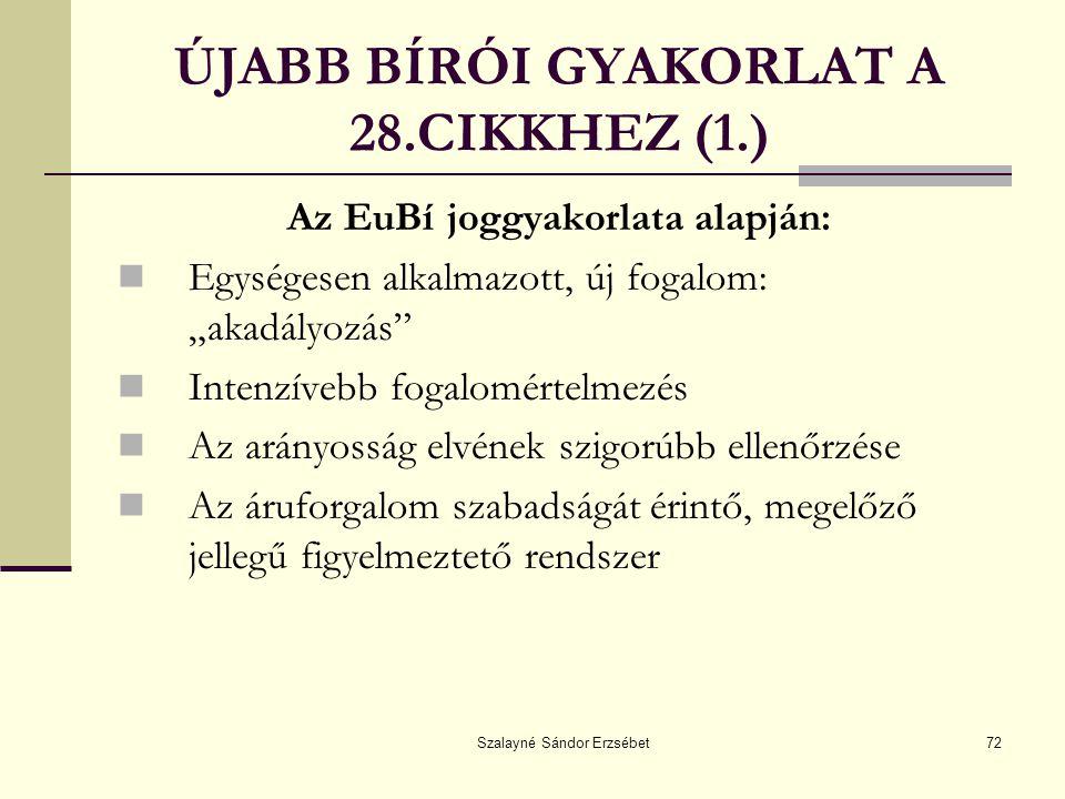 ÚJABB BÍRÓI GYAKORLAT A 28.CIKKHEZ (1.)