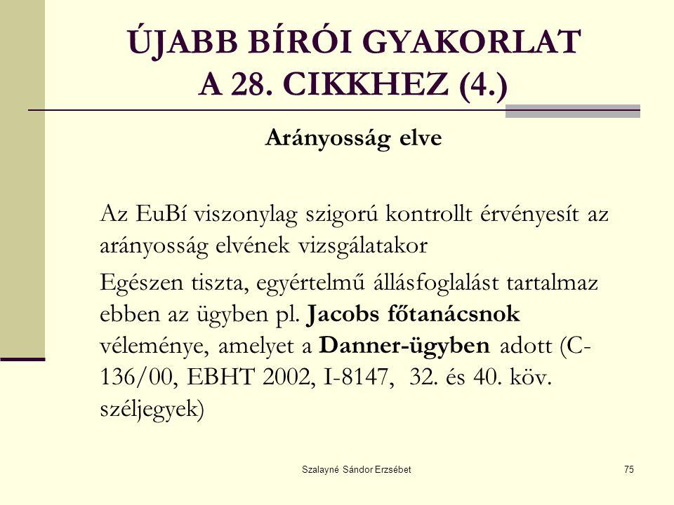 ÚJABB BÍRÓI GYAKORLAT A 28. CIKKHEZ (4.)