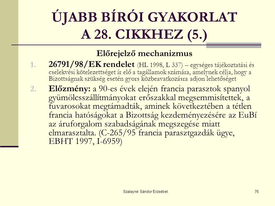 ÚJABB BÍRÓI GYAKORLAT A 28. CIKKHEZ (5.)