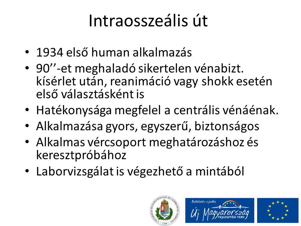 Intraosszeális út 1934 első human alkalmazás