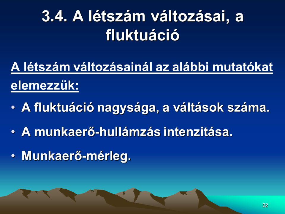 3.4. A létszám változásai, a fluktuáció