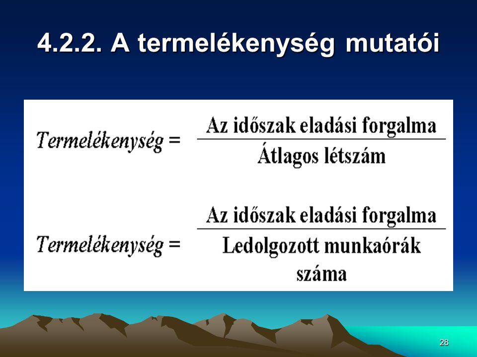 4.2.2. A termelékenység mutatói
