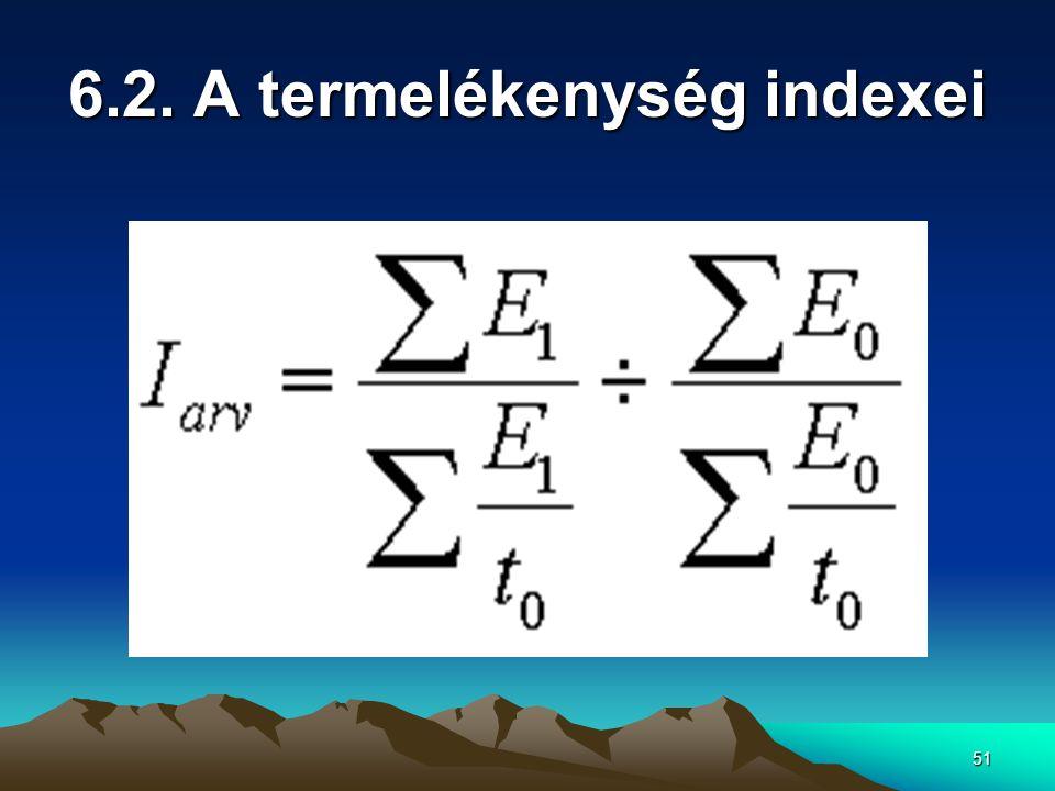 6.2. A termelékenység indexei
