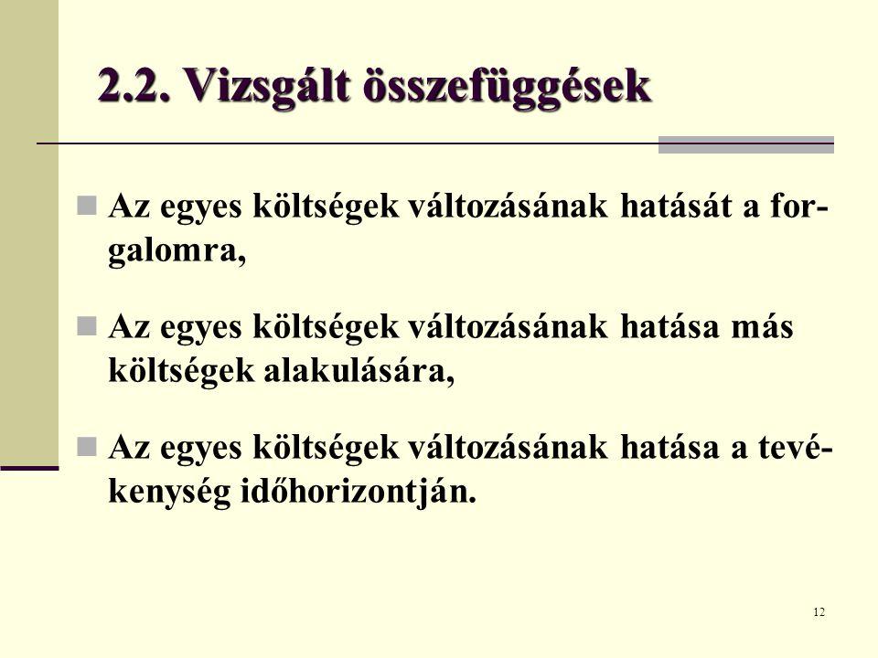 2.2. Vizsgált összefüggések