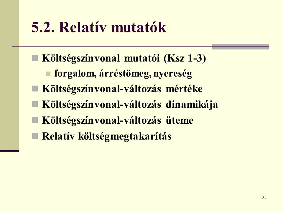 5.2. Relatív mutatók Költségszínvonal mutatói (Ksz 1-3)