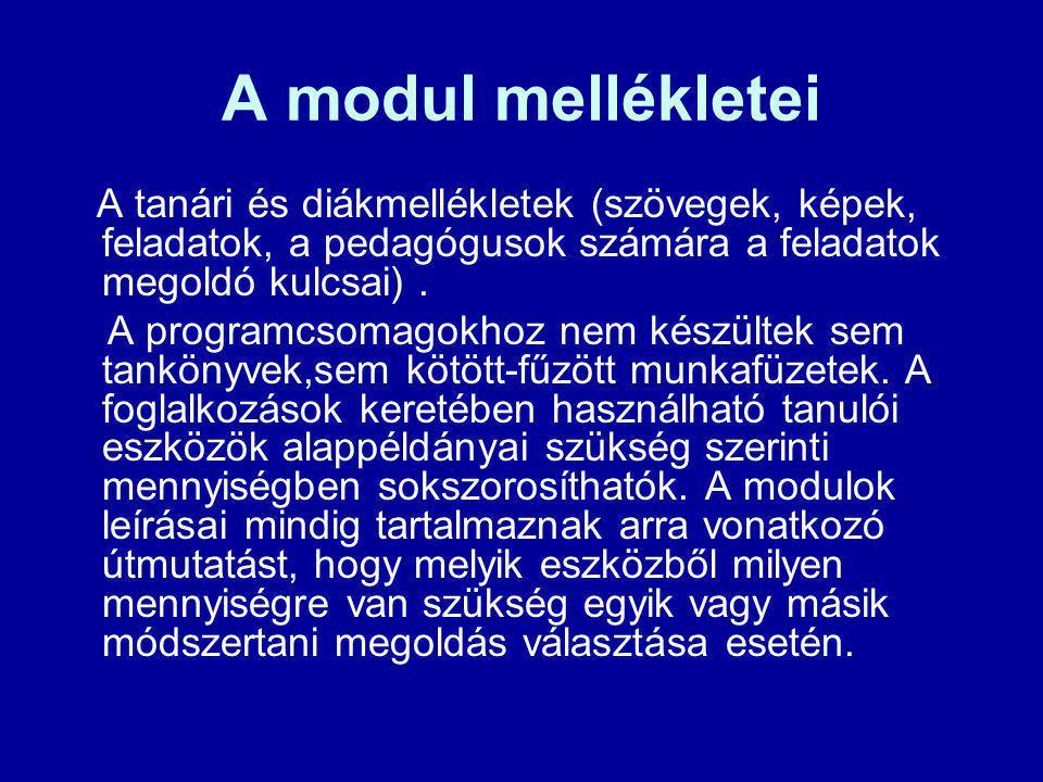 A modul mellékletei A tanári és diákmellékletek (szövegek, képek, feladatok, a pedagógusok számára a feladatok megoldó kulcsai) .
