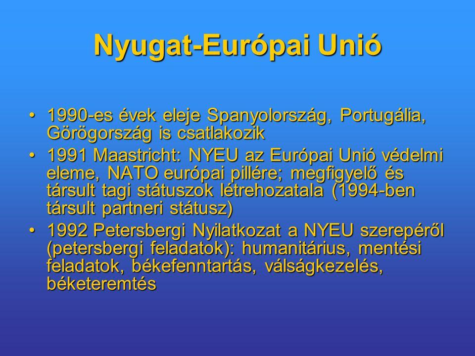 Nyugat-Európai Unió 1990-es évek eleje Spanyolország, Portugália, Görögország is csatlakozik.