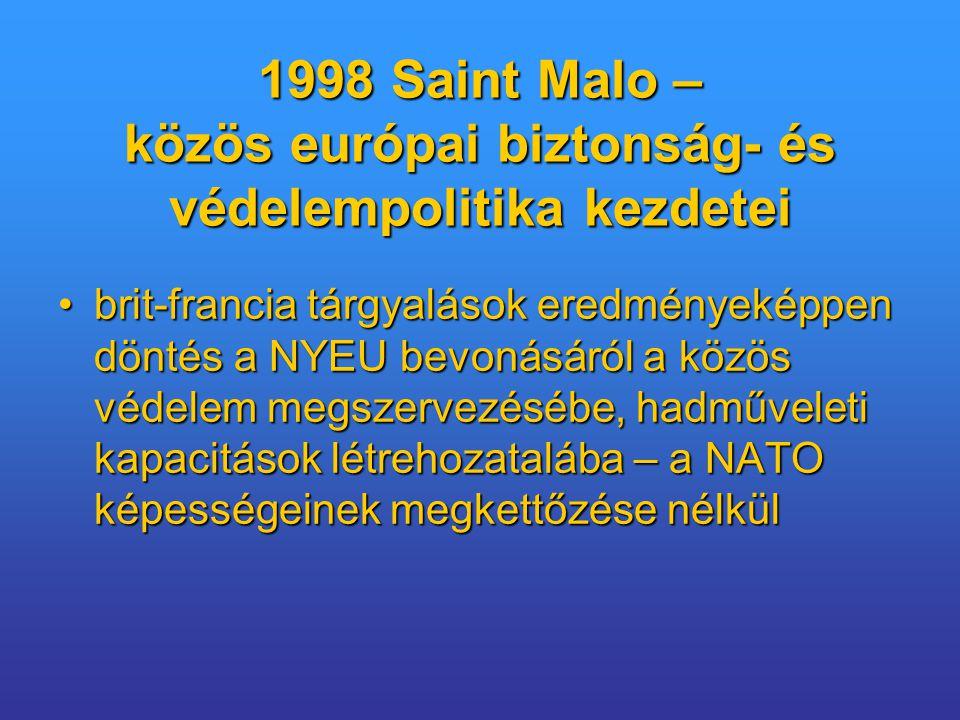 1998 Saint Malo – közös európai biztonság- és védelempolitika kezdetei