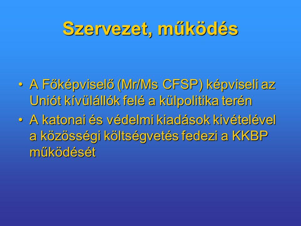 Szervezet, működés A Főképviselő (Mr/Ms CFSP) képviseli az Uniót kívülállók felé a külpolitika terén.