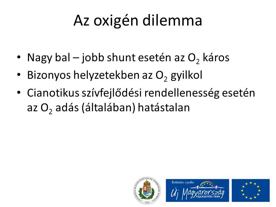 Az oxigén dilemma Nagy bal – jobb shunt esetén az O2 káros