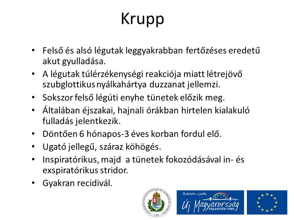 Krupp Felső és alsó légutak leggyakrabban fertőzéses eredetű akut gyulladása.