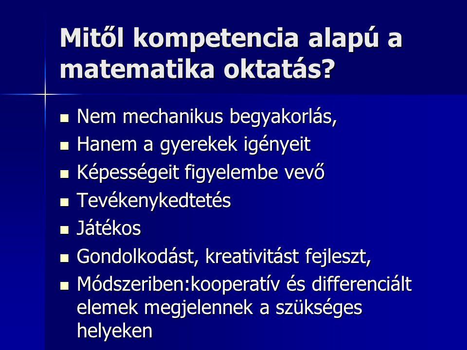 Mitől kompetencia alapú a matematika oktatás