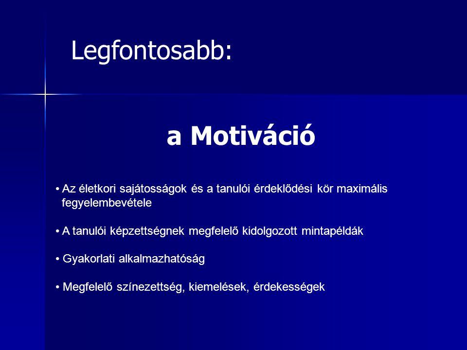 Legfontosabb: a Motiváció
