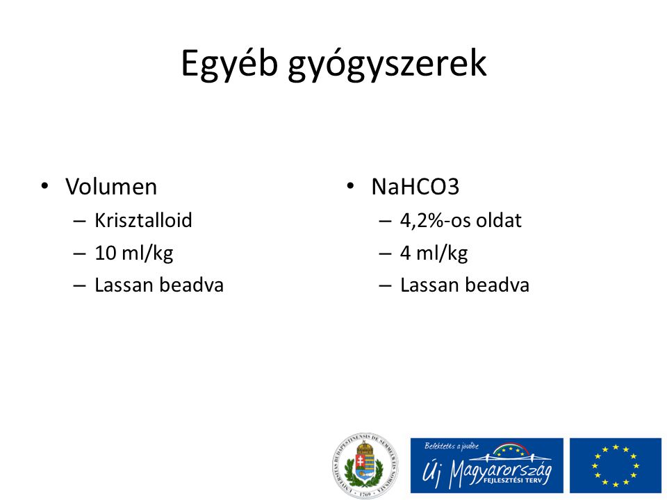 Egyéb gyógyszerek Volumen NaHCO3 Krisztalloid 10 ml/kg Lassan beadva