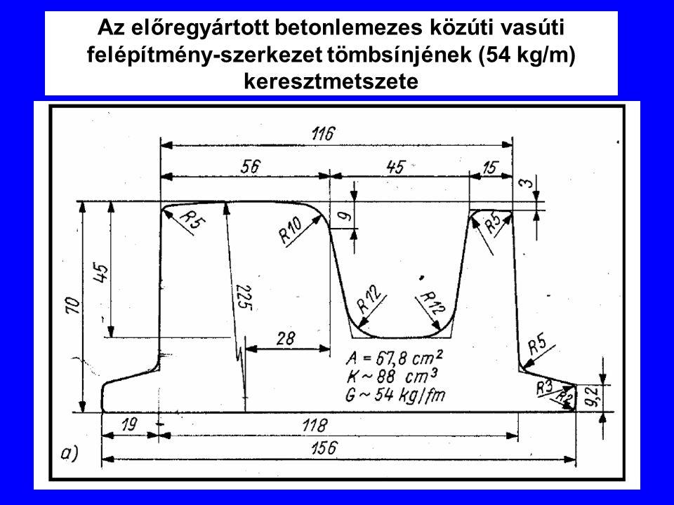 Az előregyártott betonlemezes közúti vasúti felépítmény-szerkezet tömbsínjének (54 kg/m) keresztmetszete
