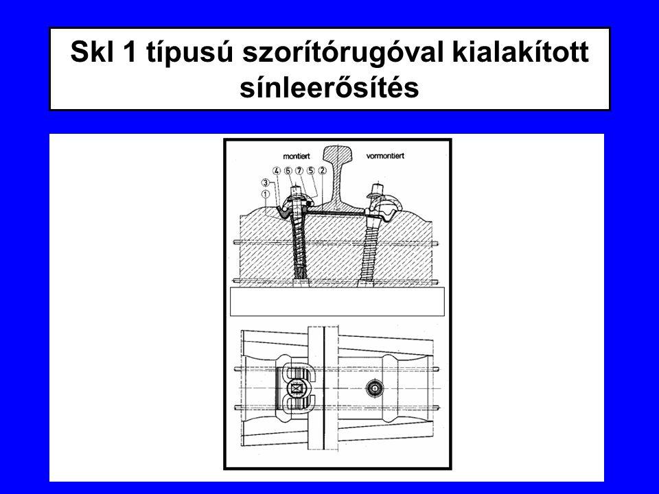 Skl 1 típusú szorítórugóval kialakított sínleerősítés