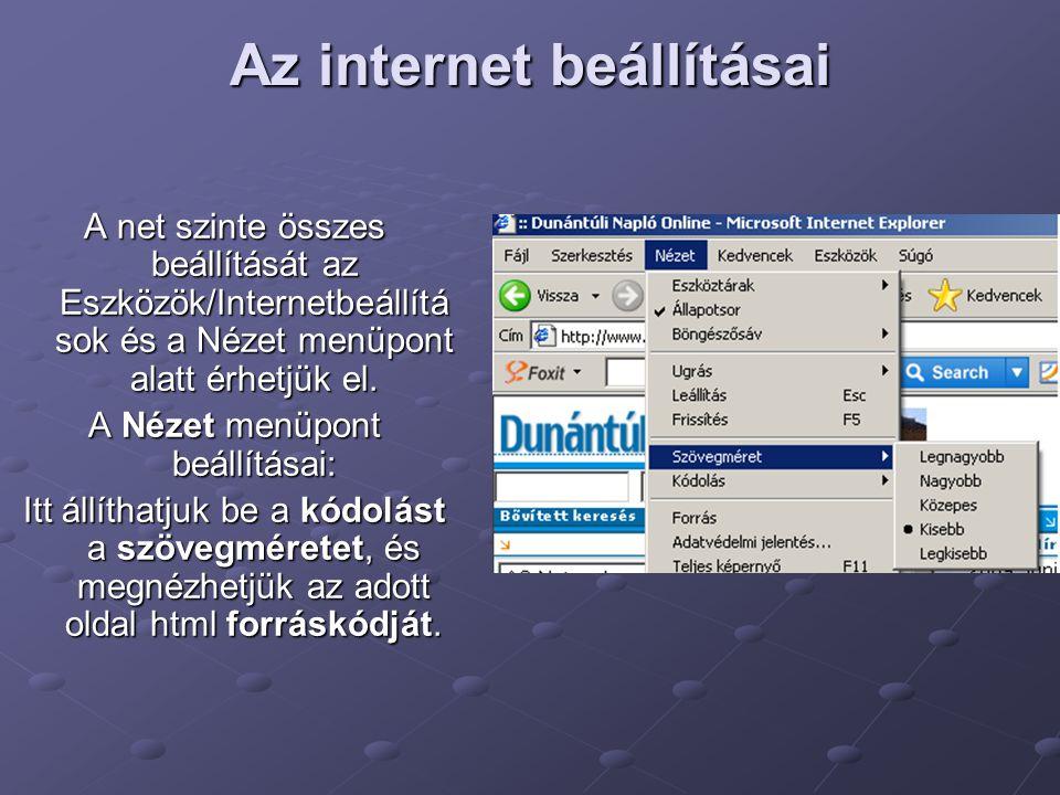 Az internet beállításai