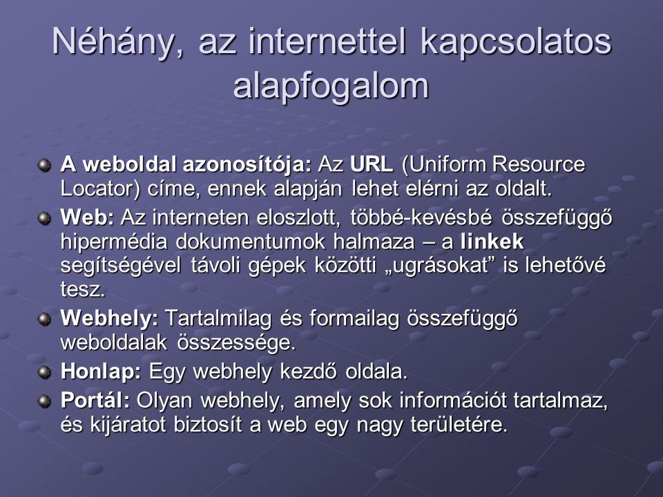 Néhány, az internettel kapcsolatos alapfogalom