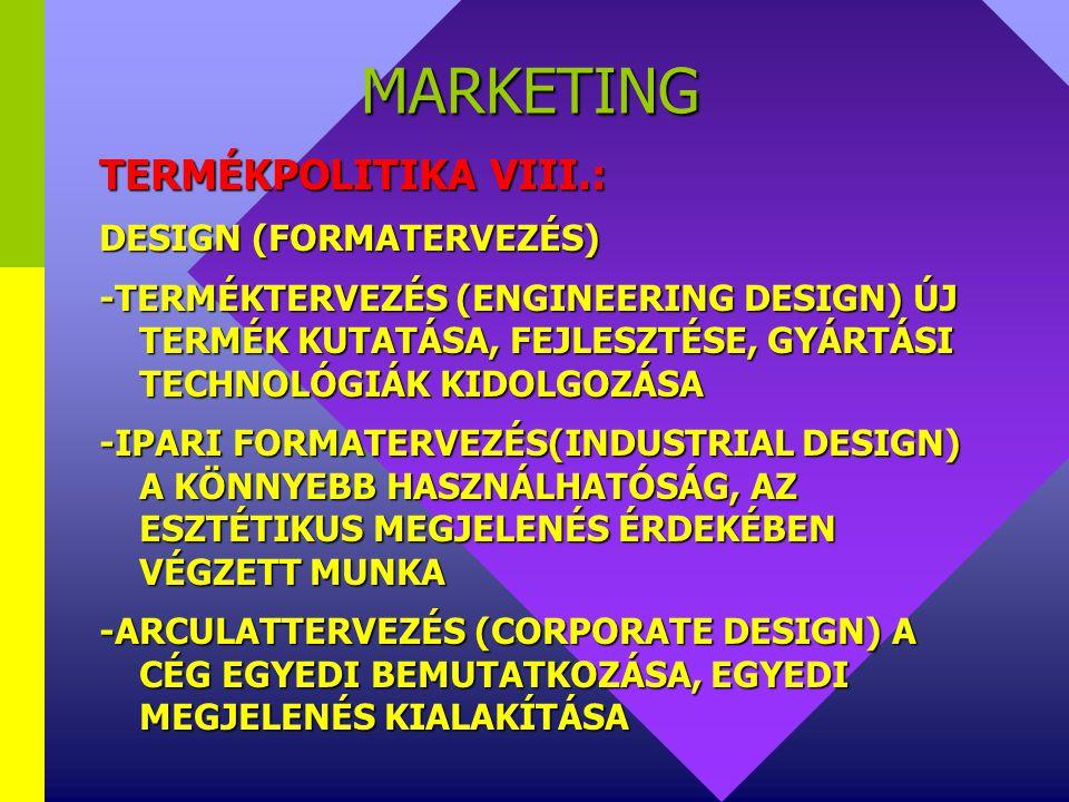 MARKETING TERMÉKPOLITIKA VIII.: DESIGN (FORMATERVEZÉS)