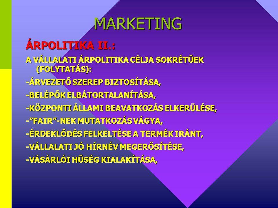 MARKETING ÁRPOLITIKA II.: