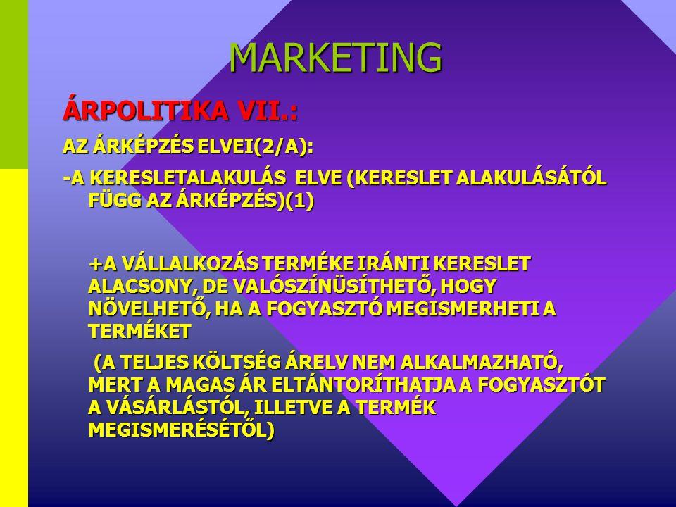 MARKETING ÁRPOLITIKA VII.: AZ ÁRKÉPZÉS ELVEI(2/A):