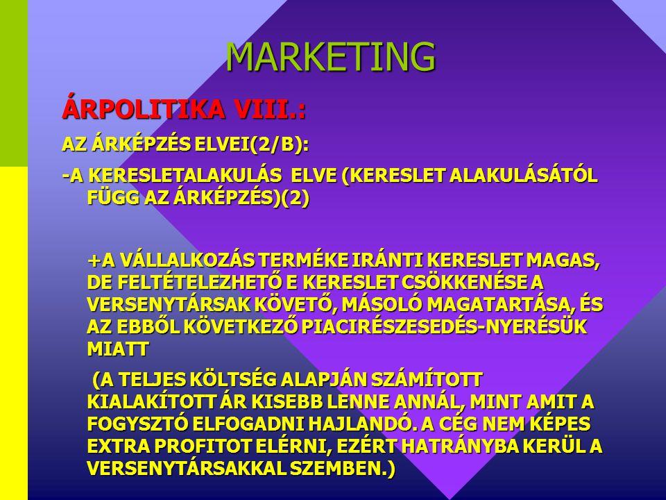 MARKETING ÁRPOLITIKA VIII.: AZ ÁRKÉPZÉS ELVEI(2/B):