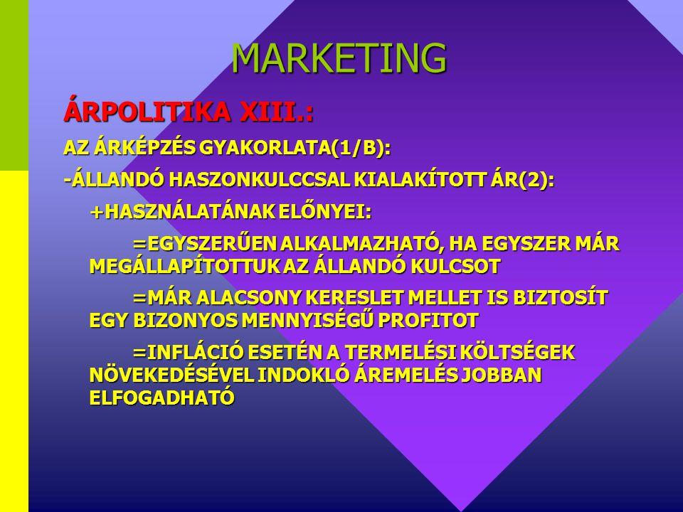 MARKETING ÁRPOLITIKA XIII.: AZ ÁRKÉPZÉS GYAKORLATA(1/B):