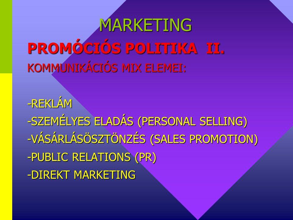MARKETING PROMÓCIÓS POLITIKA II. KOMMUNIKÁCIÓS MIX ELEMEI: -REKLÁM